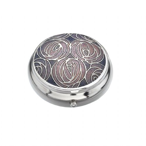 Pill Box Silver Plated Mackintosh Multi Rose Purple Brand New and Boxed
